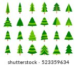 christmas trees in a flat style.... | Shutterstock .eps vector #523359634