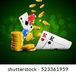 poker chips casino green poster.... | Shutterstock . vector #523361959