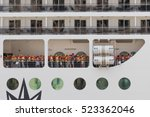 cruise ship staff carry out an emergency liner evacuation drill, Grand Harbour, Valletta, Malta, September 2016 - stock photo