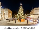 decorated christmas tree on... | Shutterstock . vector #523368460