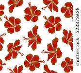 summer hawaiian seamless... | Shutterstock . vector #523373638