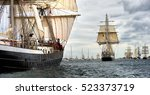 sailing ship race. tall ships... | Shutterstock . vector #523373719