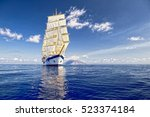 sailing ship. luxury holidays... | Shutterstock . vector #523374184