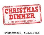 christmas dinner grunge rubber... | Shutterstock .eps vector #523386466