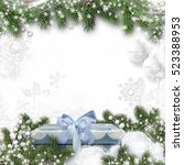 christmas background with gift... | Shutterstock . vector #523388953