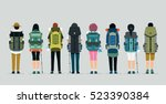 man and woman hiking bag with... | Shutterstock .eps vector #523390384
