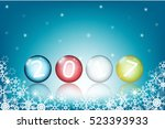 new year 2017. colored glass... | Shutterstock .eps vector #523393933