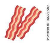 bacon isolated on white... | Shutterstock .eps vector #523397284