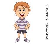 the little cute boy cartoon... | Shutterstock .eps vector #523397818