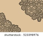 curly floral lace .patterned... | Shutterstock . vector #523398976