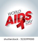 aids awareness red ribbon.... | Shutterstock .eps vector #523399000