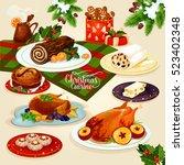 christmas cuisine festive... | Shutterstock .eps vector #523402348