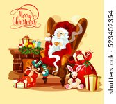 santa claus resting with cup of ... | Shutterstock .eps vector #523402354