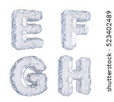3d rendering of ice alphabet | Shutterstock . vector #523402489