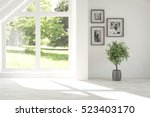 white empty room with green... | Shutterstock . vector #523403170