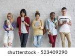young diversity standing row... | Shutterstock . vector #523409290