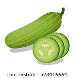 fresh cucumber vegetable... | Shutterstock .eps vector #523416664