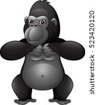 strong gorilla cartoon | Shutterstock .eps vector #523420120