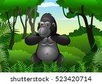 cartoon gorilla in the jungle | Shutterstock .eps vector #523420714