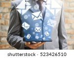 businessman checking email....   Shutterstock . vector #523426510