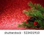 christmas tree branches on... | Shutterstock . vector #523431910