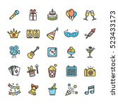 party icon thin line color set... | Shutterstock .eps vector #523433173
