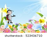 cartoon ladybug in the flower... | Shutterstock .eps vector #523436710