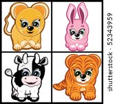 vector set of little animals    ... | Shutterstock .eps vector #52343959