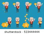 old man with golden piggy bank  ... | Shutterstock .eps vector #523444444