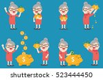 grandma with golden piggy bank  ... | Shutterstock .eps vector #523444450