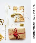 christmas gift boxes collection ...   Shutterstock . vector #523445776
