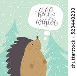 hello winter card with cartoon... | Shutterstock .eps vector #523448233