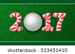 golf ball with candy cane... | Shutterstock .eps vector #523451410