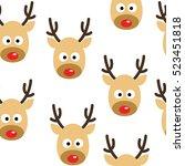 deer heads seamless pattern... | Shutterstock .eps vector #523451818