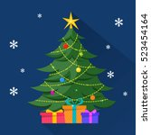 christmas tree with decorations ...   Shutterstock .eps vector #523454164