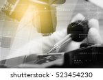 Small photo of Double exposure of scientist taking aliquote of an enzyme in modern lab, science concept,copy space,mock up,film effect.
