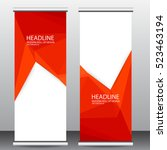 red roll up business brochure... | Shutterstock .eps vector #523463194