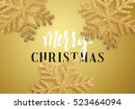 christmas background gold color ... | Shutterstock .eps vector #523464094