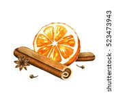 slice of orange  cinnamon and... | Shutterstock . vector #523473943