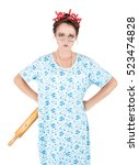 crazy angry housewife with... | Shutterstock . vector #523474828