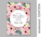 wedding invitation floral... | Shutterstock .eps vector #523475554