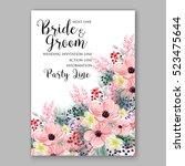 wedding invitation floral... | Shutterstock .eps vector #523475644