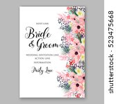 wedding invitation floral... | Shutterstock .eps vector #523475668