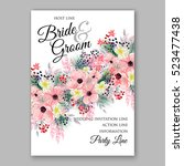 wedding invitation floral...   Shutterstock .eps vector #523477438