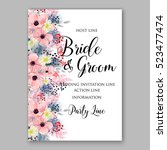 wedding invitation floral... | Shutterstock .eps vector #523477474