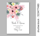 wedding invitation floral... | Shutterstock .eps vector #523477480