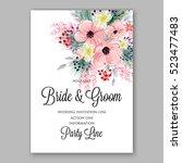 wedding invitation floral... | Shutterstock .eps vector #523477483