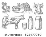 set milk farm. cow head  clover ... | Shutterstock .eps vector #523477750
