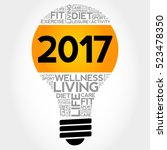2017 health goals bulb word... | Shutterstock .eps vector #523478350