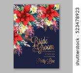 red poinsettia wedding... | Shutterstock .eps vector #523478923